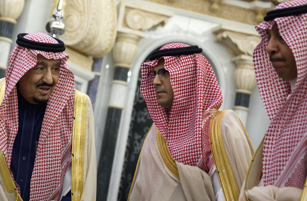 Saudi King Salman, left, before his meeting with US Secretary of State Mike Pompeo, at the Royal Court in Riyadh, Saudi Arabia, Thursday Feb. 20, 2020...