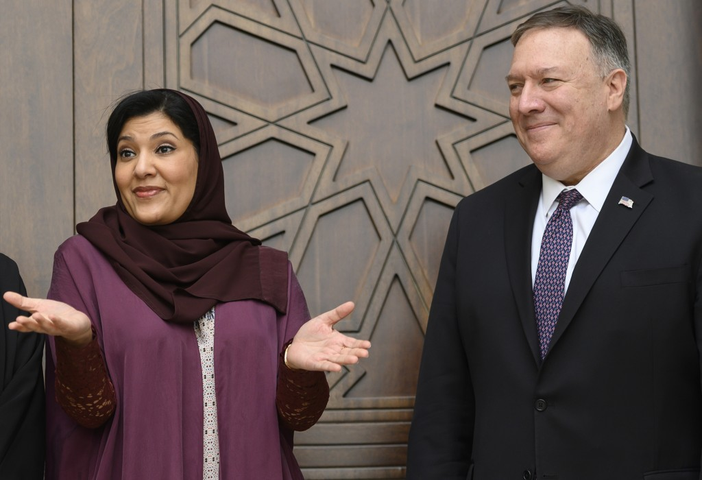 US Secretary of State Mike Pompeo, right, and Saudi ambassador to the United States Princess Reema Bint Bandar, as they wait before holding a roundtab...