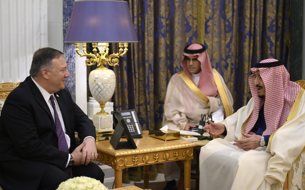US Secretary of State Mike Pompeo, left, meets with Saudi King Salman, right, at the Royal Court in Riyadh, Saudi Arabia, Thursday Feb. 20, 2020. Pomp...