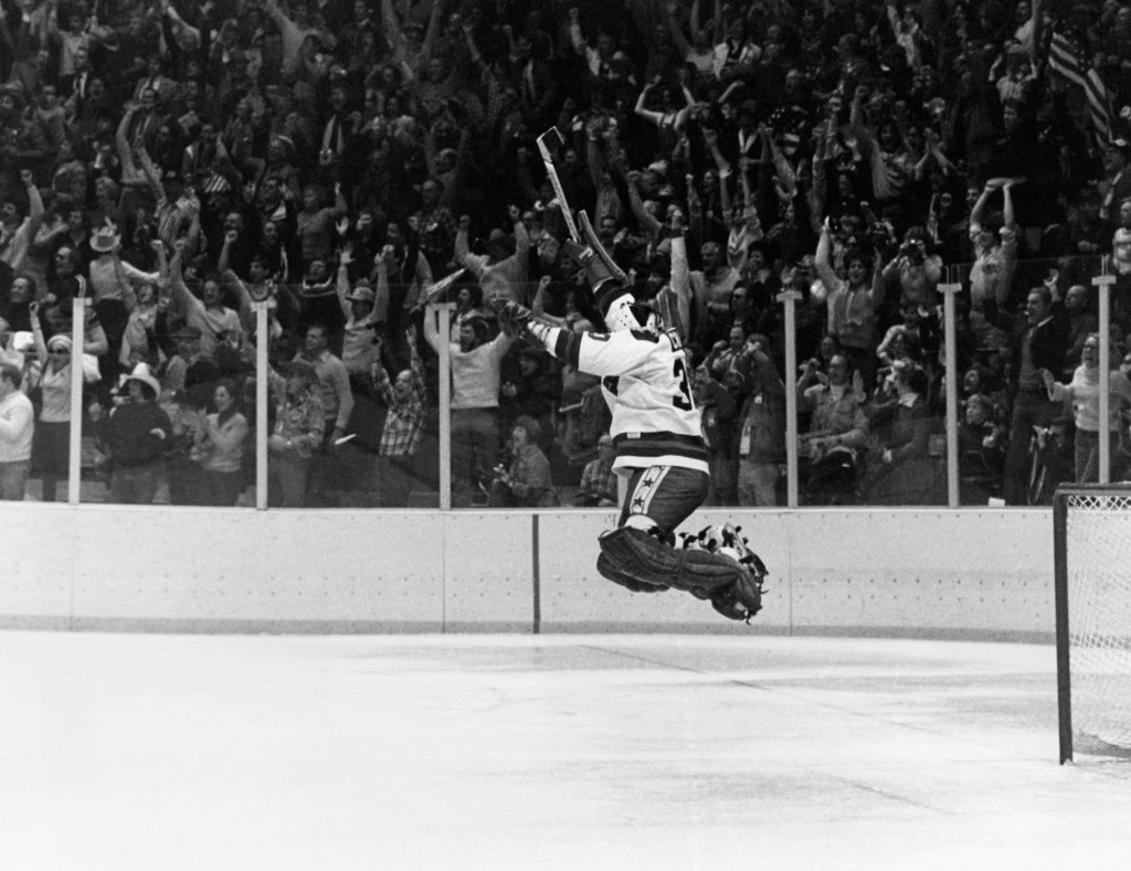 FILE - In this Feb. 22, 1980, file photo, U.S. goalie James Craig leaps high in the air in the final second of a 4-3 win over the Soviet Union in a me...