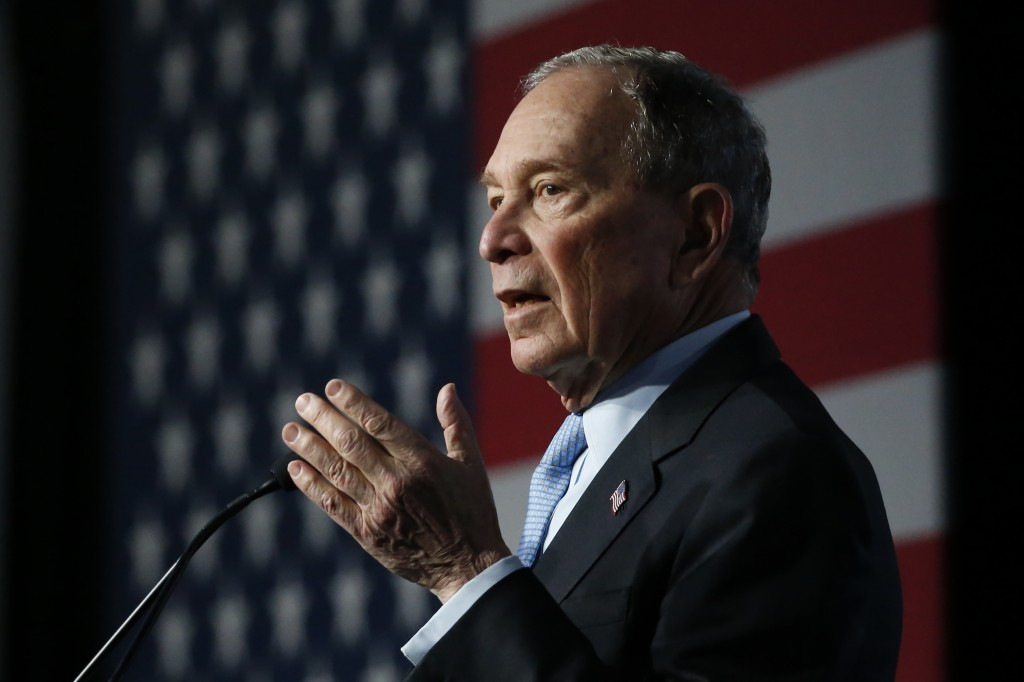 Democratic presidential candidate and former New York City Mayor Mike Bloomberg speaks during campaign event, Thursday, Feb. 20, 2020, in Salt Lake Ci...