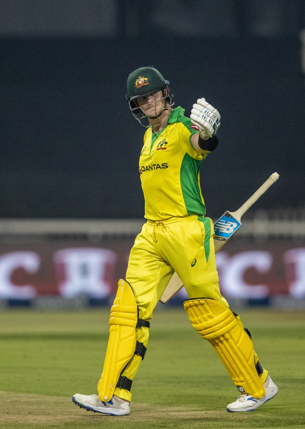 Australia's Steven Smith leaves the field after being dismissed by South Africa's bowler Tabraiz Shamsi during the 1st T20 cricket match between South...