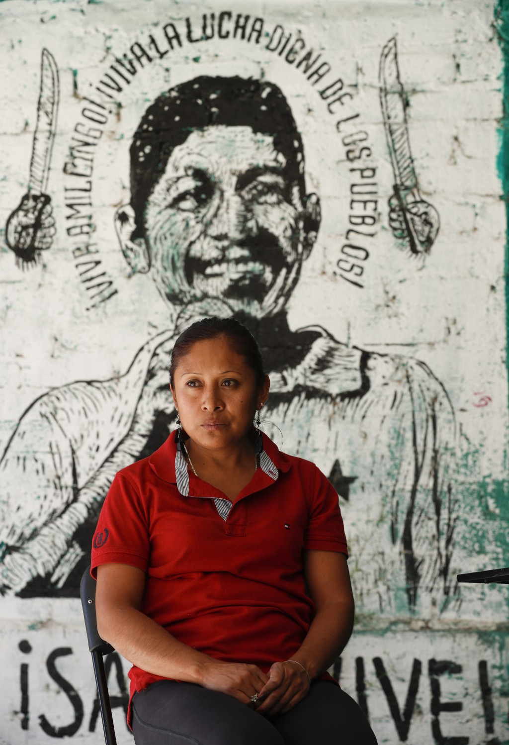 Liliana Velazquez poses for a photo in front of a mural depicting her murdered husband and community activist Samir Flores in Amilcingo, Morelos state...