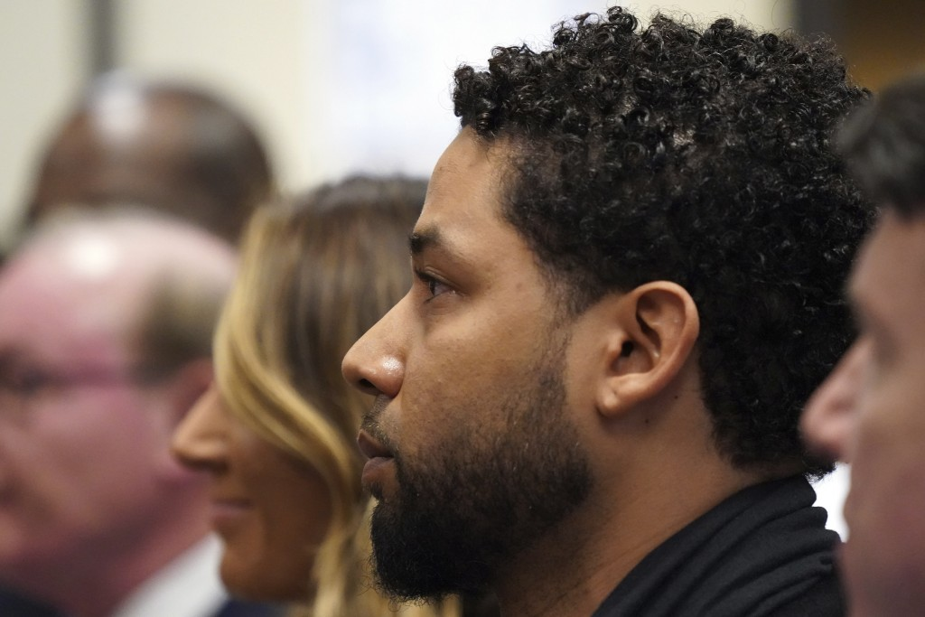 Actor Jussie Smollett appears in a courtroom at the Leighton Criminal Court Building in Chicago on Feb. 24, 2020, where he plead not guilty to restore...
