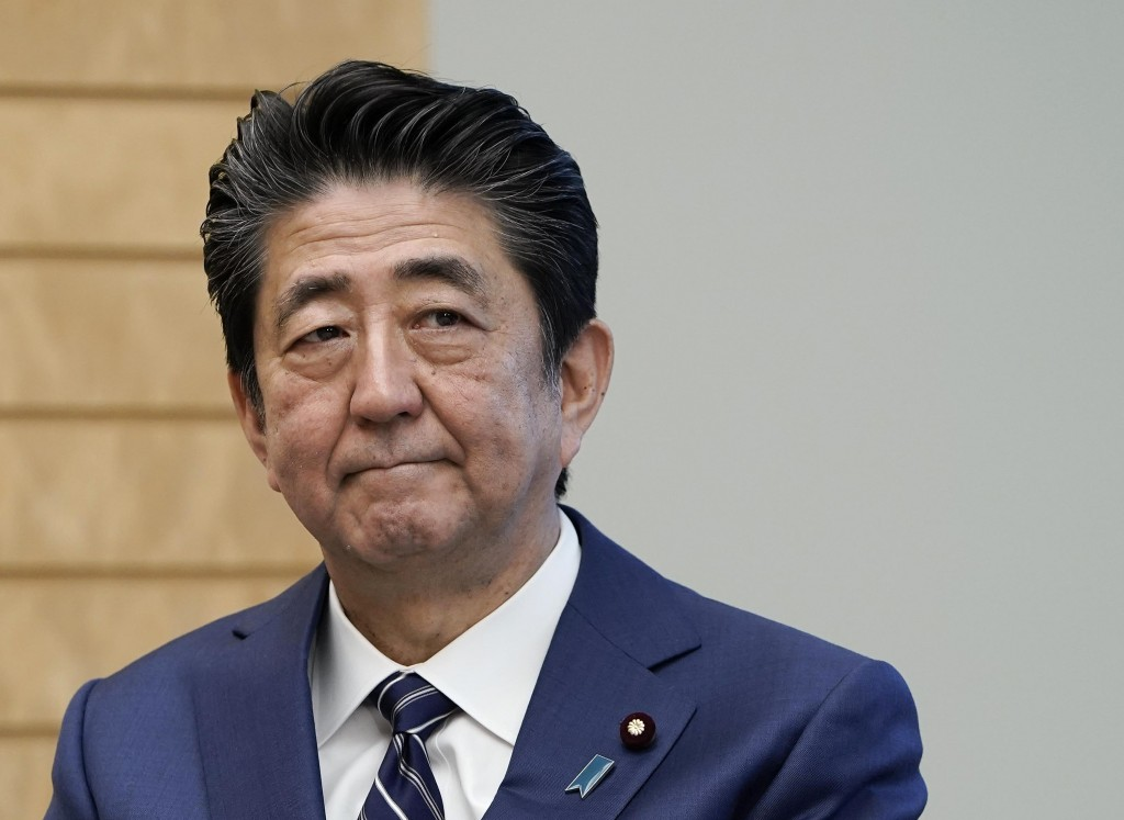 Japanese Prime Minister Shinzo Abe listens to Director General of International Atomic Energy Agency, IAEA, Rafael Mariano Grossi, during Grossi's cou...