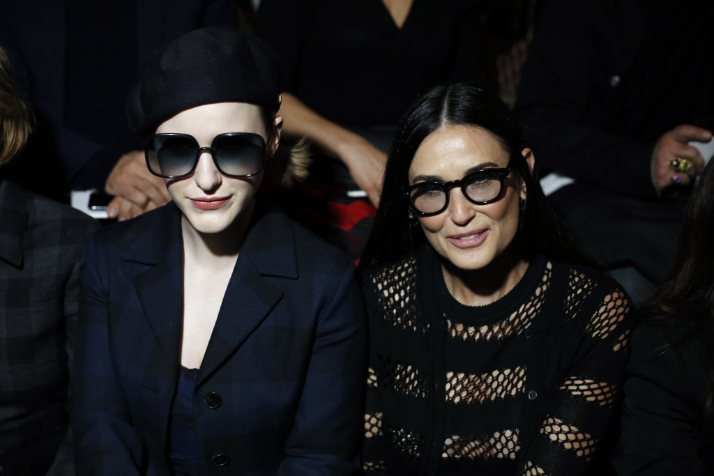 Actresses Rachel Brosnahan, left, and Demi Moore attend the Dior fashion collection during Women's fashion week Fall/Winter 2020/21 presented in Paris...