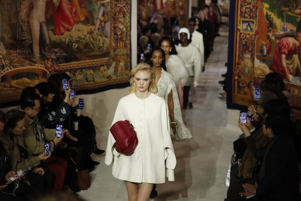 Models wear creations for the Lanvin fashion collection during the Women's fashion week Fall/Winter 2020/21 presented in Paris, Wednesday, Feb. 26, 20...