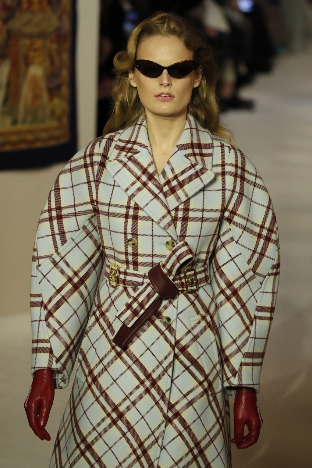 A model wears a creation for the Lanvin fashion collection during the Women's fashion week Fall/Winter 2020/21 presented in Paris, Wednesday, Feb. 26,...