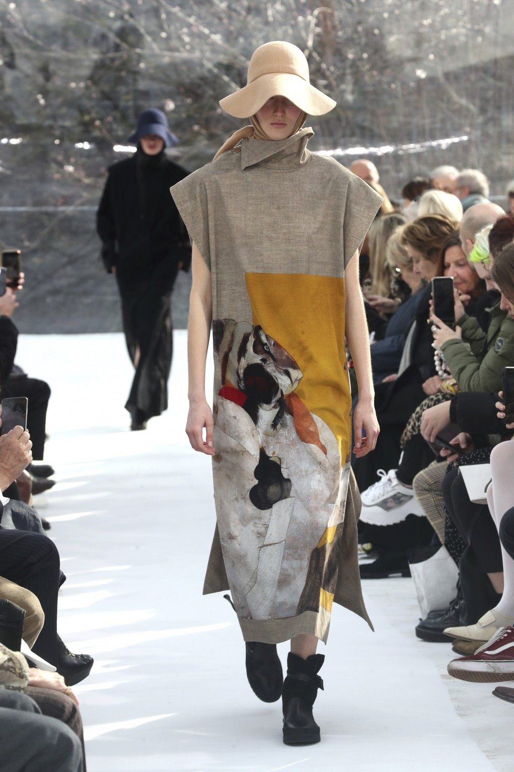 A model wears a creation for the Kenzo fashion collection during Women's fashion week Fall/Winter 2020/21 presented in Paris, Wednesday, Feb. 26, 2020...