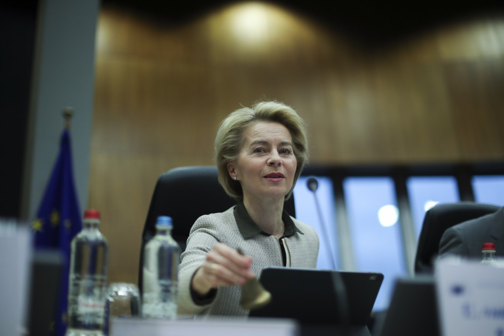 European Commission President Ursula von der Leyen rings a bell to signal the start of a weekly College of Commissioners meeting at the EU headquarter...