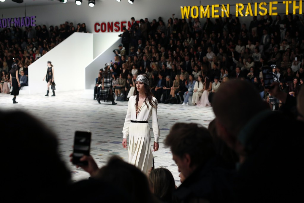 A model wears a creation for the Dior fashion collection during Women's fashion week Fall/Winter 2020/21 presented in Paris, Tuesday, Feb. 25, 2020. (...