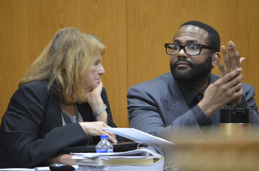 Defense attorney Alison Steiner, left, confers with her client, Willie Cory Godbolt, Wednesday, Feb. 26, 2020, on Day 11 during the penalty phase of h...