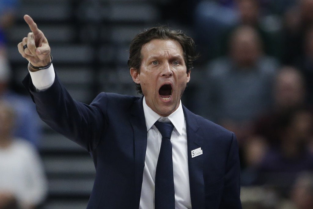 Utah Jazz coach Quin Snyder shouts to the team during the second half of an NBA basketball game against the Boston Celtics on Wednesday, Feb. 26, 2020...