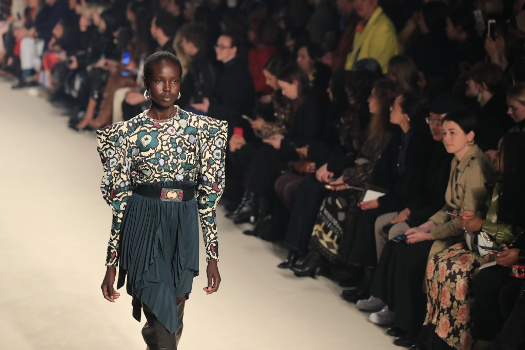 A model wears a creation for the Isabel Marant fashion collection during Women's fashion week Fall/Winter 2020/21 presented in Paris, Thursday, Feb. 2...