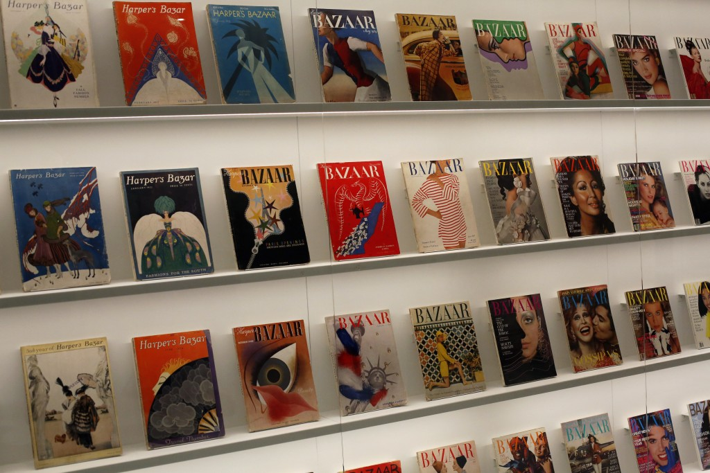 overs from Harper's Bazar magazine are on display as part of the exhibition «Harper's Bazaar, First in Fashion» at the The Musée des Arts Décoratifs...