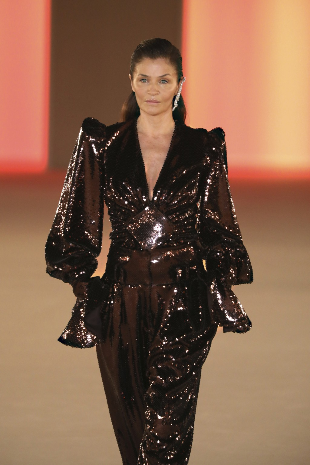 Model Helena Christensen wears a creation for the Balmain fashion collection during Women's fashion week Fall/Winter 2020/21 presented in Paris, Frida...