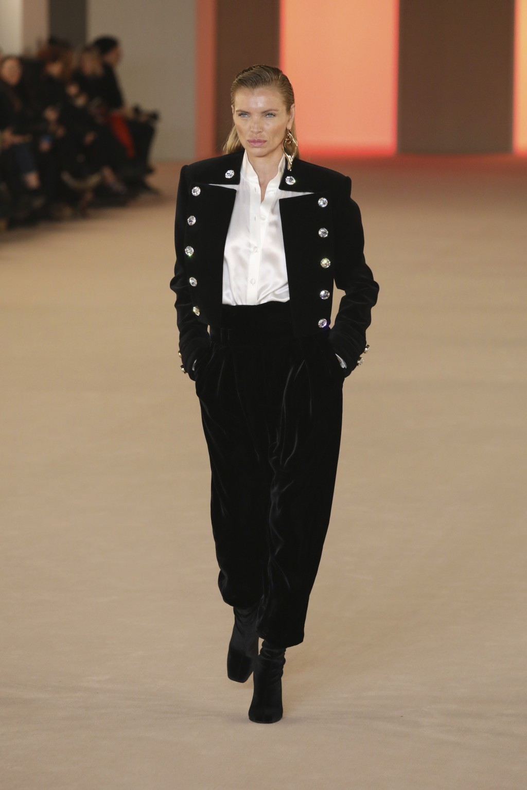 Model Esther Canadas wears a creation for the Balmain fashion collection during Women's fashion week Fall/Winter 2020/21 presented in Paris, Friday, F...
