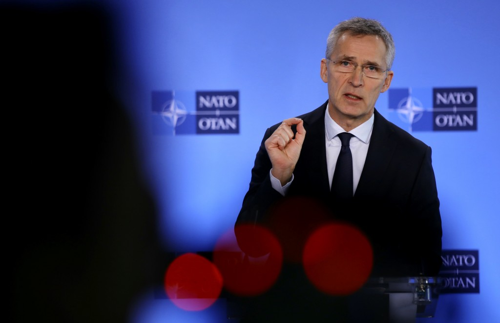 NATO Secretary-General Jens Stoltenberg speaks during a media conference at NATO headquarters in Brussels, Friday, Feb. 28, 2020. Ambassadors from the...