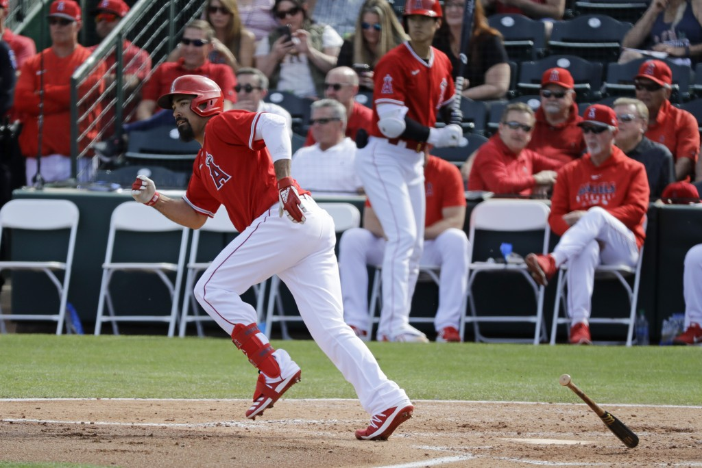 Los Angeles Angels' Anthony Rendon singles during the fourth inning of a spring training baseball game against the San Diego Padres, Thursday, Feb. 27...