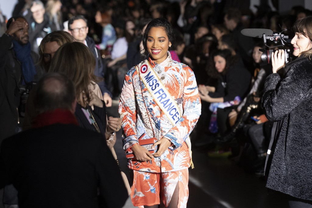 Clemence Botino, Miss France 2020, attends Leonard fashion collection during the Women's fashion week Fall/Winter 2020/21 presented in Paris, Thursday...