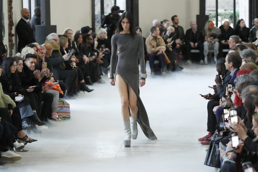 A model wears a creation for the Rick Owens fashion collection during Women's fashion week Fall/Winter 2020/21 presented in Paris, Thursday, Feb. 27, ...