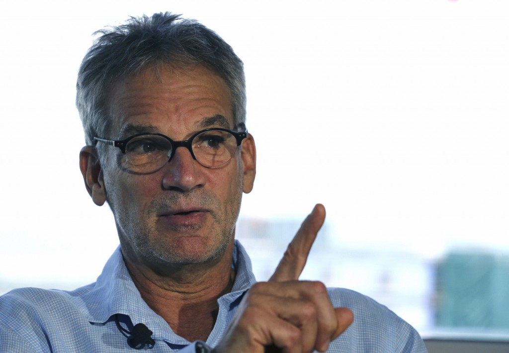 FILE - In this Sept. 17, 2014, file photo, Colorado-based author Jon Krakauer gestures during an interview in Denver. For more than a quarter-century,...