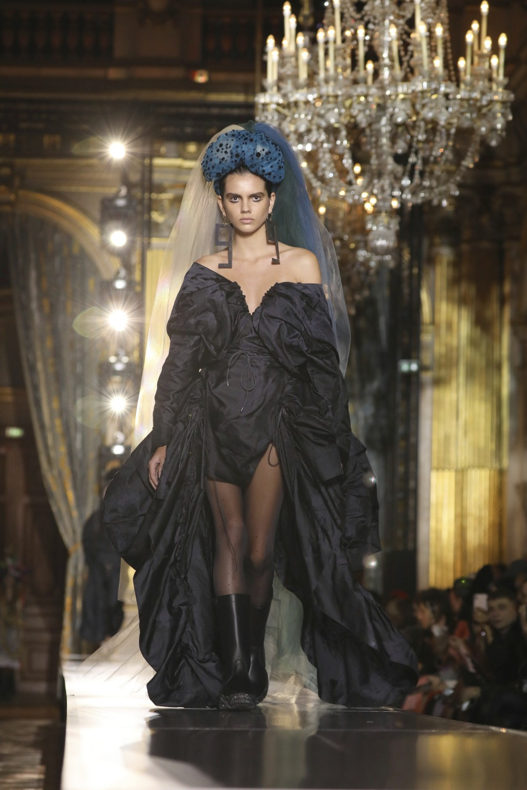 A model wears a creation for the Vivienne Westwood fashion collection during Women's fashion week Fall/Winter 2020/21 presented in Paris, Saturday, Fe...