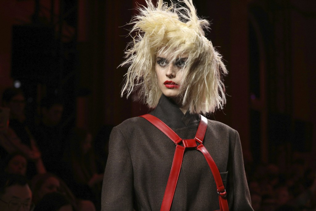 A model wears a creation for the Watanabe fashion collection during Women's fashion week Fall/Winter 2020/21 presented in Paris, Saturday, Feb. 29, 20...