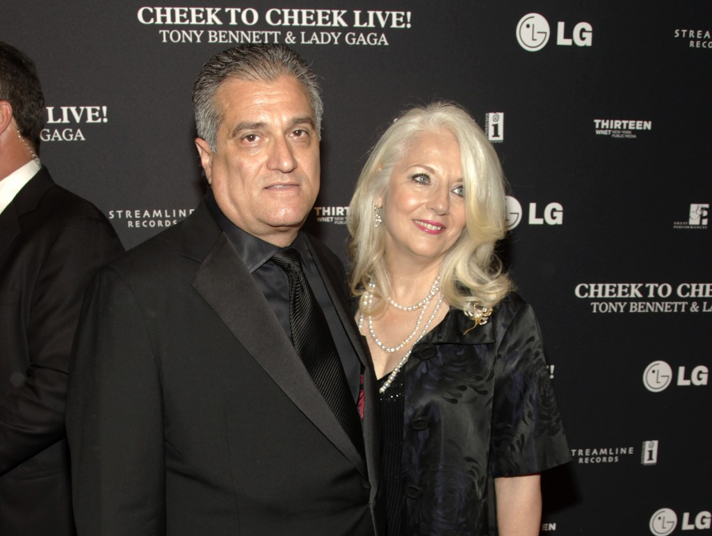 FILE - This July 28, 2014 file photo shows Joe Germanotta, left, and Cynthia Germanotta at a Tony Bennett and Lady Gaga concert taping in New York. Jo...