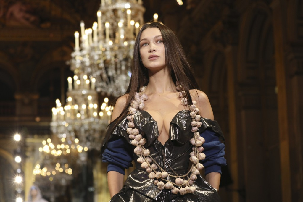 Model Bella Hadid wears a creation for the Vivienne Westwood fashion collection during Women's fashion week Fall/Winter 2020/21 presented in Paris, Sa...