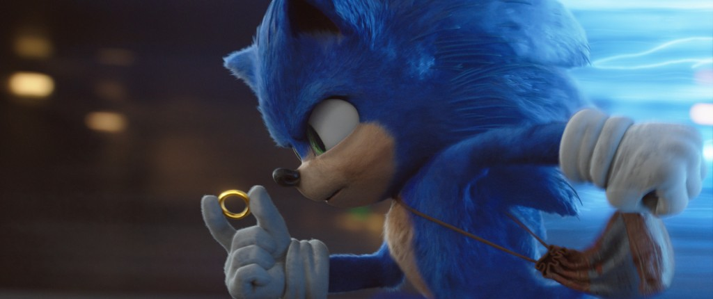"""This image released by Paramount Pictures shows Sonic, voiced by Ben Schwartz, in a scene from """"Sonic the Hedgehog."""" (Paramount Pictures/Sega of Ameri..."""