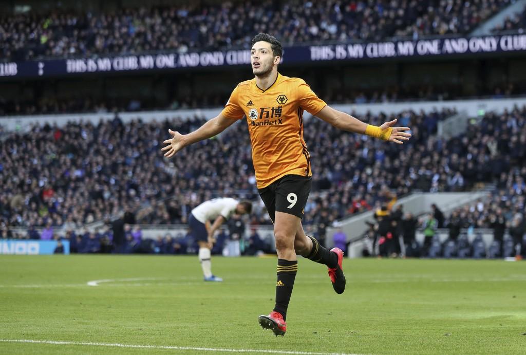 Wolverhampton Wanderers' Raul Jimenez celebrates scoring his side's third goal of the game during the English Premier League soccer match between Tott...