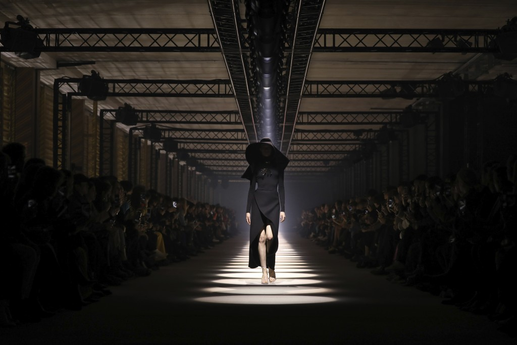 A model wears a creation for the Givenchy fashion collection during Women's fashion week Fall/Winter 2020/21 presented in Paris, Sunday, March 1, 2020...