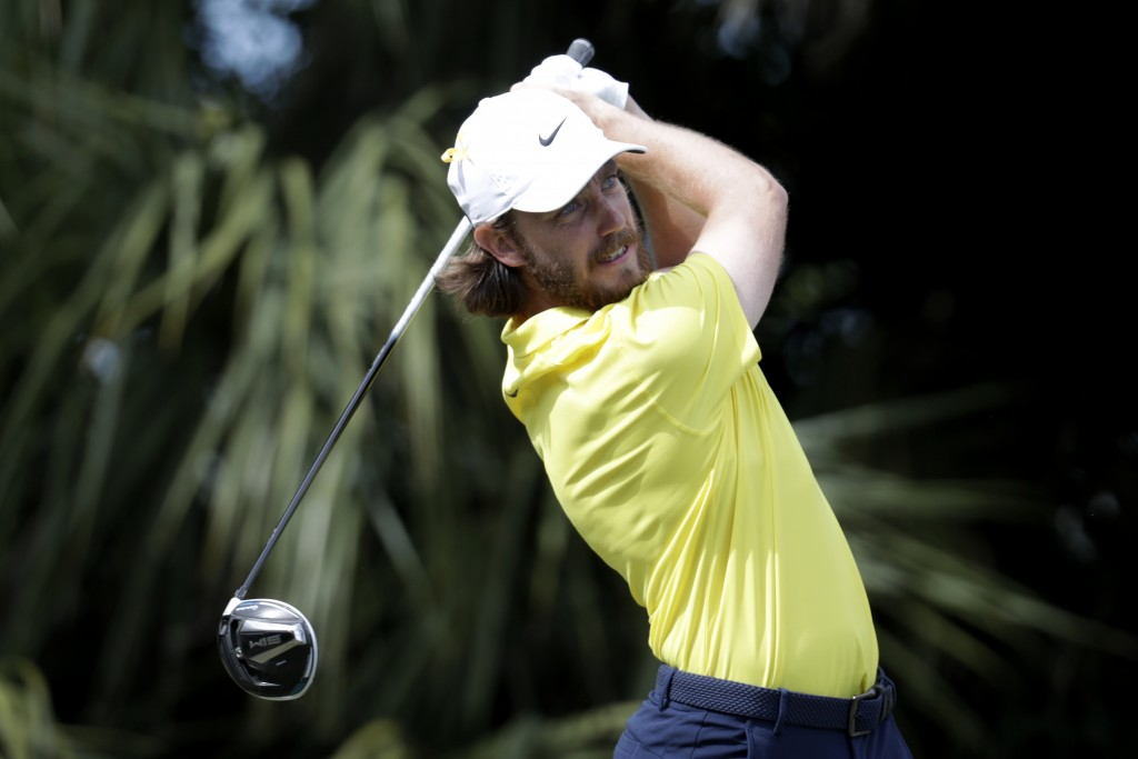 Tommy Fleetwood of England hits from the third tee during the fourth round of the Honda Classic golf tournament, Sunday, March 1, 2020, in Palm Beach ...