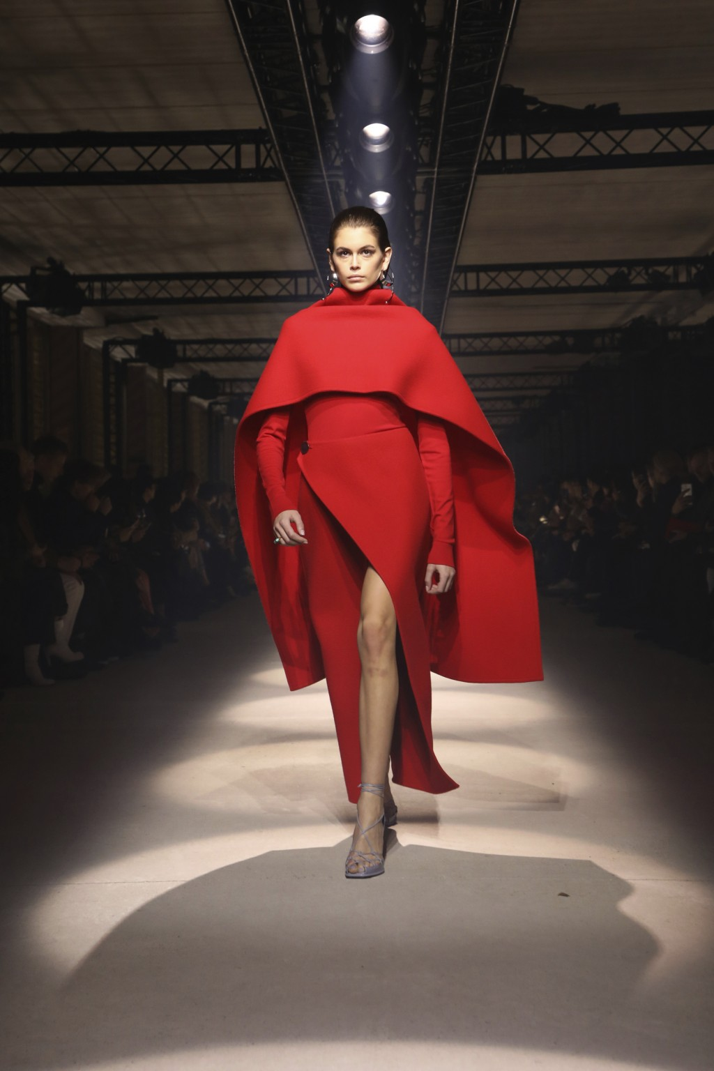 Model Kaia Gerber wears a creation for the Givenchy fashion collection during Women's fashion week Fall/Winter 2020/21 presented in Paris, Sunday, Mar...