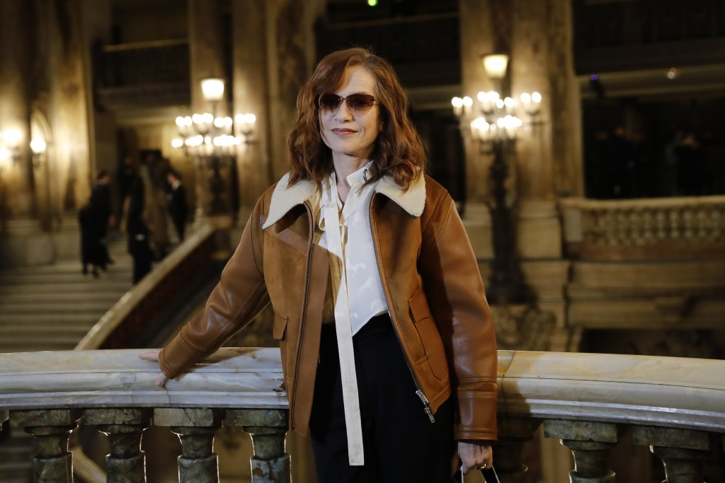 French actress Isabelle Huppert poses before Stella McCartney's fashion collection during Women's fashion week Fall/Winter 2020/21 presented in Paris,...