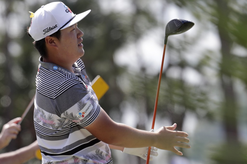 Sungjae Im of South Korea watches his shot from the second tee during the fourth round of the Honda Classic golf tournament, Sunday, March 1, 2020, in...