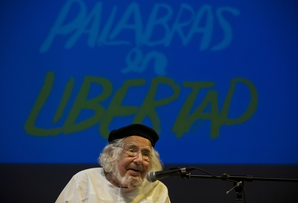"FILE - In this May 21, 2015 file photo, Nicaraguan poet Ernesto Cardenal takes part in a tribute in his honor during the ""Centroamerica Cuenta"" writer..."