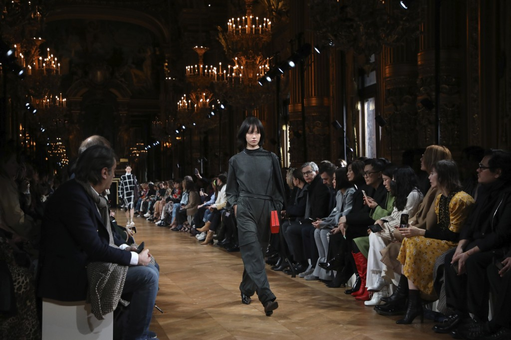 A model wears a creation for the Stella McCartney fashion collection during Women's fashion week Fall/Winter 2020/21 presented in Paris, Monday, March...