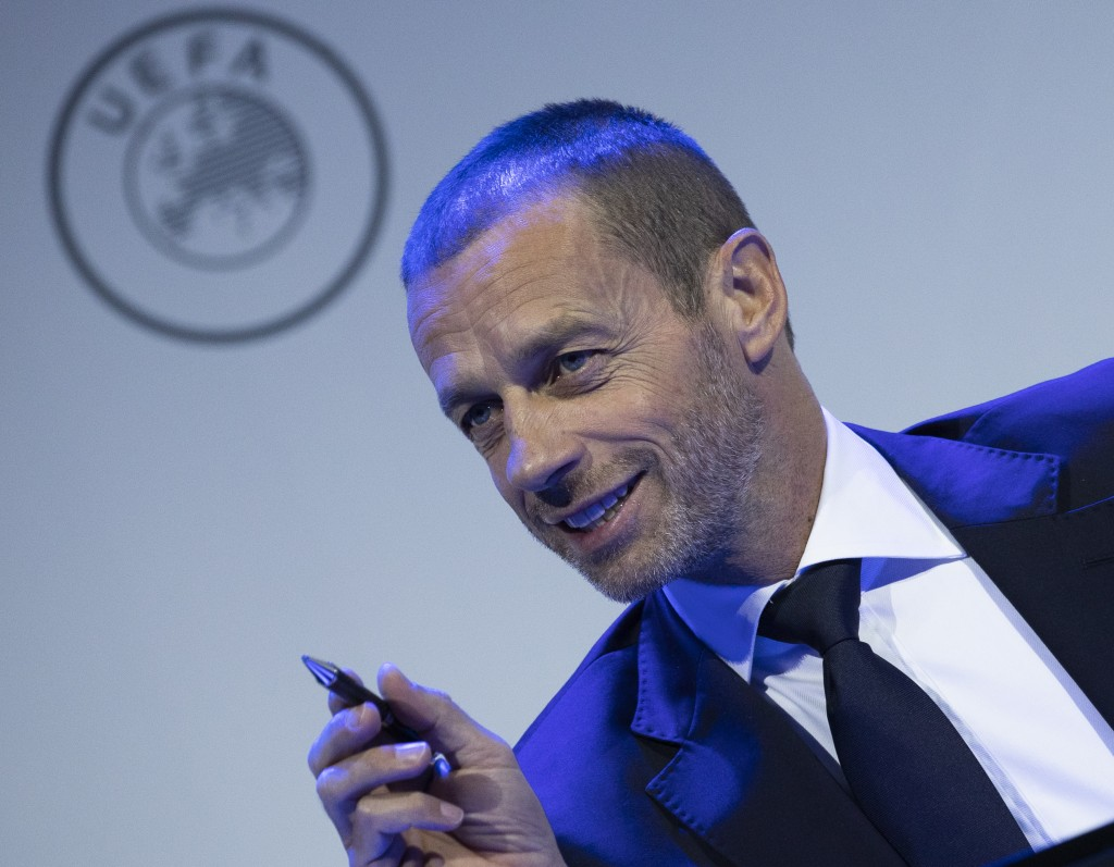 UEFA President Aleksander Ceferin looks up during a meeting of European soccer leaders at the congress of the UEFA governing body in Amsterdam's Beurs...