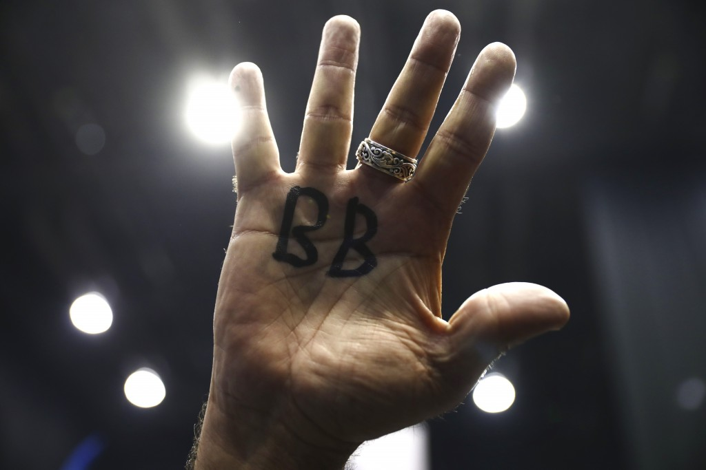 """Supporter of Israeli Prime Minister Benjamin Netanyahu displays his hand with BB written on it for Netanyahu's nickname """"Bibi"""" as they celebrate after..."""