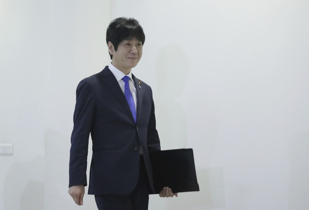 Japan's Deputy Justice Minister Hiroyuki Yoshiie arrives to give a press conference at the Japanese Embassy, in Beirut, Lebanon, Monday, March 2, 2020...