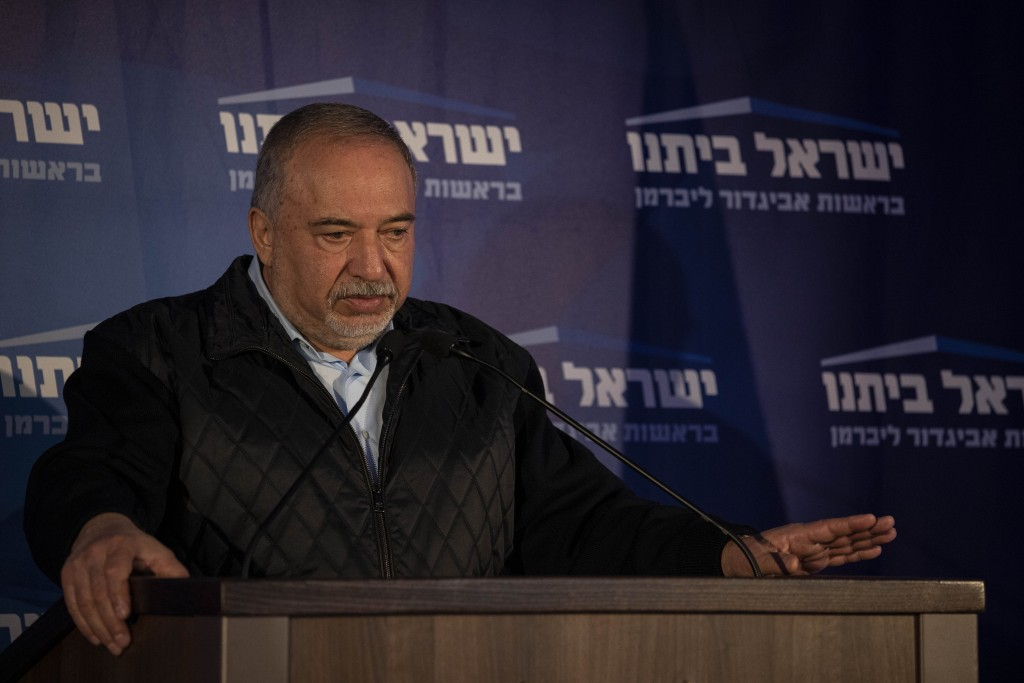 The leader of the Yisrael Beiteinu speak party Avigdor Lieberman, during a press conference in after Israeli elections in the city of Modiin, Monday, ...