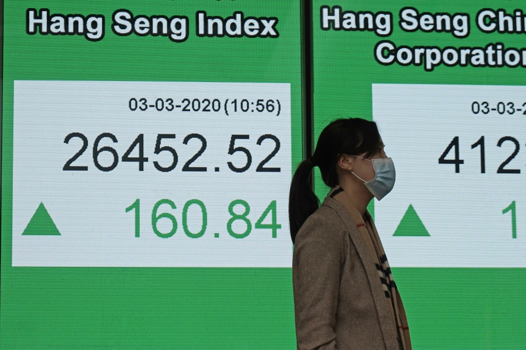 A woman walks past an electronic board showing Hong Kong share index outside a local bank in Hong Kong, Tuesday, March 3, 2020. Asian shares are highe...
