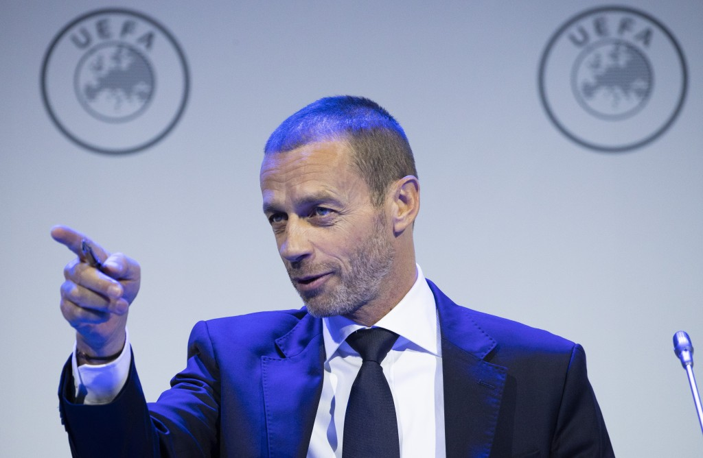 UEFA President Aleskander Ceferin gestures during a meeting of European soccer leaders at the congress of the UEFA governing body in Amsterdam's Beurs...