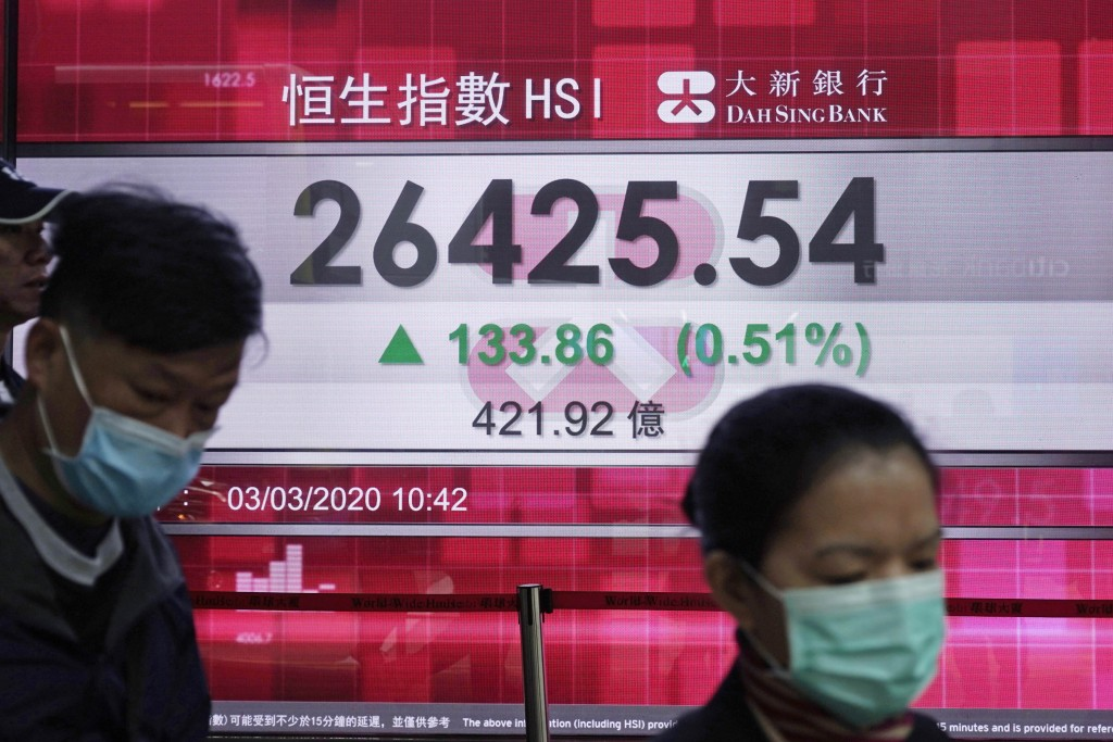 People walk past an electronic board showing Hong Kong share index outside a local bank in Hong Kong, Tuesday, March 3, 2020. Asian shares are higher ...