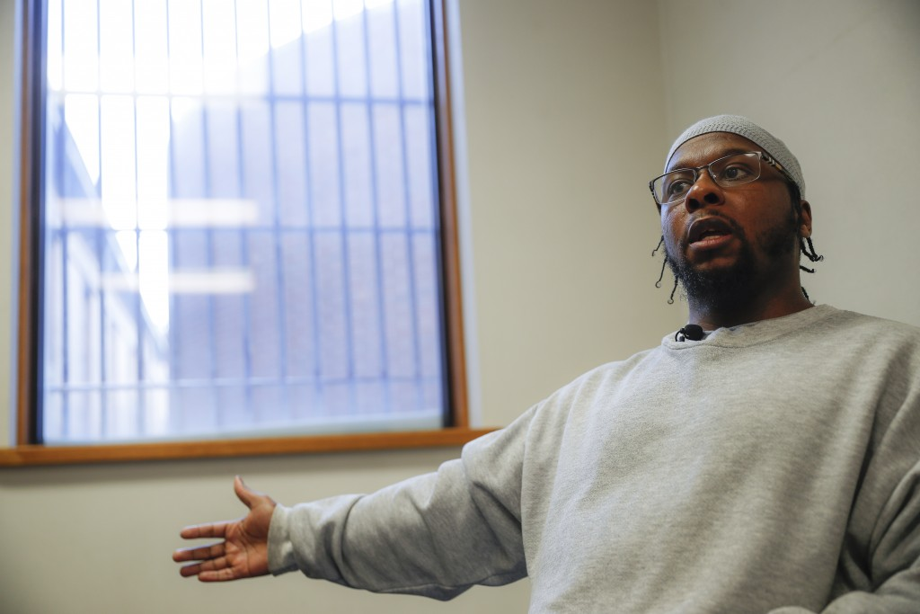 In this Feb. 13, 2020, photo, inmate Myon Burrell is interviewed at Minnesota Correctional Facility in Stillwater, Minn. Sentenced to life after a you...