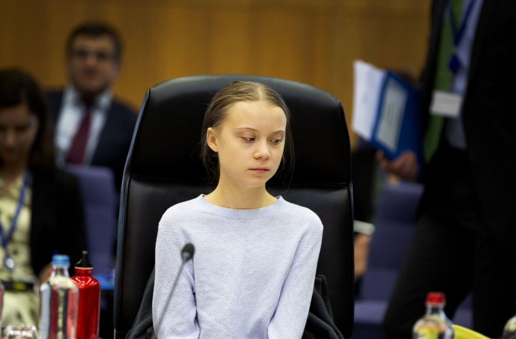 Swedish climate activist Greta Thunberg attends the weekly College of Commissioners meeting at EU headquarters in Brussels, Wednesday, March 4, 2020. ...