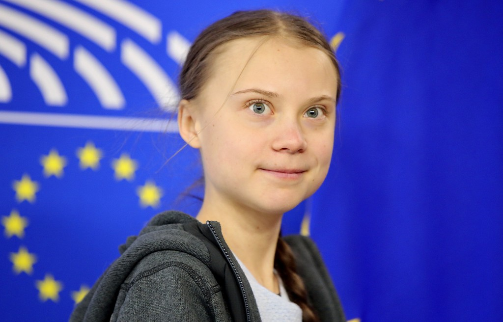 Swedish climate activist Greta Thunberg arrives for a meeting of the Environment Council at the European Parliament in Brussels, Wednesday, March 4, 2...