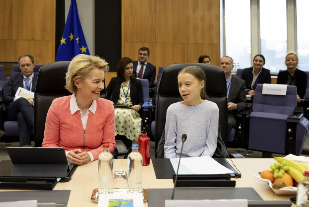 Swedish climate activist Greta Thunberg, right, and European Commission President Ursula von der Leyen attend the weekly College of Commissioners meet...